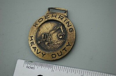 Koehring Heavy Duty Trackhoe Excavator Crawler Vintage Watch Fob Brass Color