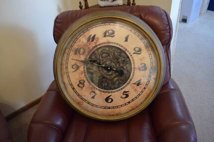 Large Decorative Wall Mount Clock with Rusty Steampunk Aesthetic