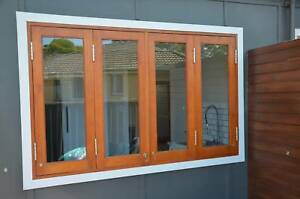 SOLID CEDAR BIFOLD WINDOW 1800W x 1200, NEW FULLY BUILT IN FRAME