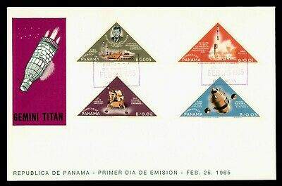 DR WHO 1965 PANAMA FDC SPACE JOHN F KENNEDY JFK TRIANGLE COMBO IMPERF  g21851