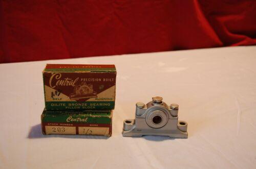 "Central precision built 203 Oilite Bronze Bearing Pillow Block 1/2"" Bore"