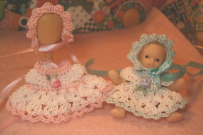 Dollhouse Miniature Doll Dress with Matching Bonnet Ooak