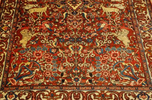 C1910s Antique Detailed Animal Subjects Prsian Bijar Rug 4.4x6.7 High Kpsi