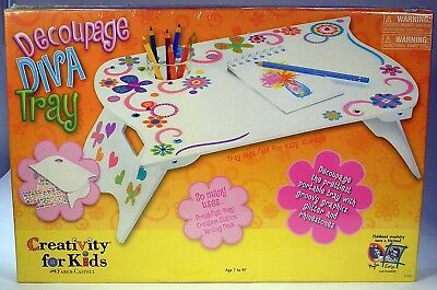 Creativity for Kids Decoupage Diva craft Tray kit Wooden tray include cup holder (Wooden Tray For Kids)