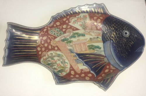 Fine Antique Japanese Large IMARI Porcelain FISH FORM Plate - Bowl  19th cent.