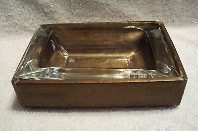 Vintage Clear Glass Cigar/Cigarette Ashtray with Decorative Box Base