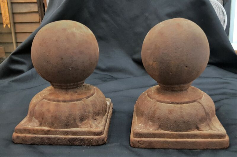 Pair of Large Cast Iron Ball Top Finials