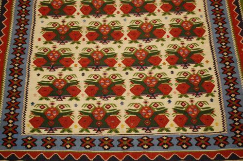 Circa 1930s Antique High Kpsi Persian Senneh Kilim Rug 3.4x5.5 Natural Dye Wool