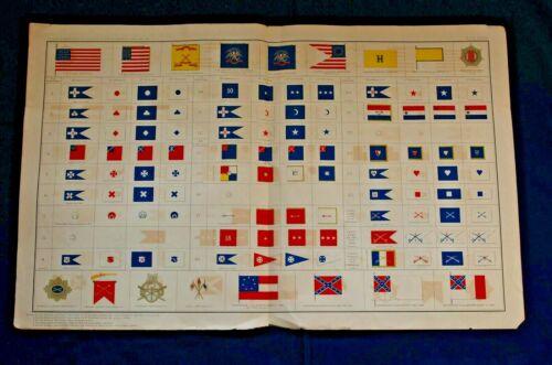 Large Color Diagram of Civil War Flags, Union and Conf. Armies 1861-1865