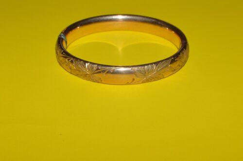 ANTIQUE GOLD PLATED ETCHED BANGLE BRACELET