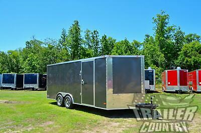 New 2021 8.5 X 18 V Nosed Enclosed Cargo Race Car Toy Hauler Trailer Loaded