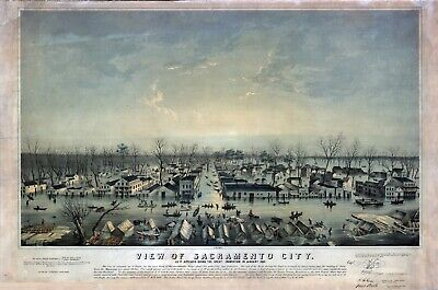 1850 SACRAMENTO CALIFORNA birds eye view panoramic map GENEALOGY poster ca23