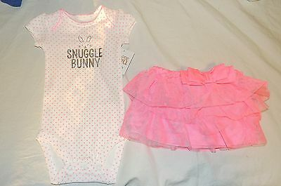 New Carters Baby Girl Snuggle Bunny Outfit Skirt Bodysuit Size 3 Months  Easter - Easter Bunny Baby Outfit