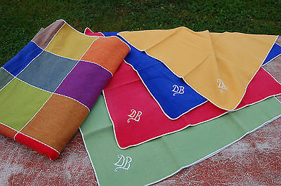 Antique tablecloth + napkins - initial embroidered D.B - Good condition C53