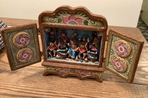 Nicario Jimenez Signed Traditional Fiesta Jarana Wood Box Andes Folk Art