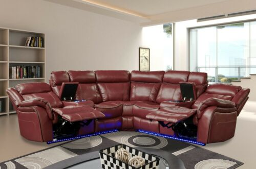 Contemporary Beautiful Red Air Leather Power Sectional Sofa Console Cup Holder