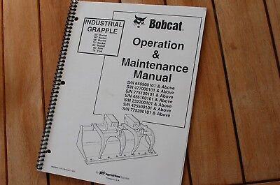 Bobcat Skidsteer Grapple Bucket Owner Operation Operator Maintenance Manual Book