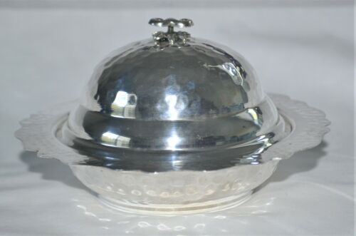 Vintage Hand-Hammered 900 Silver Covered Butter Dish