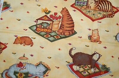 TIMELESS TREASURES Yellow Cotton Quilt Fabric with Cats Kittens & Birds 1 yard