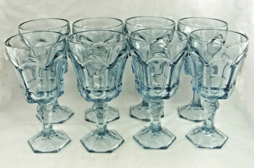 "Fostoria 8 Light Blue Virginia Water Goblets 7.25"" NEW OLD STOCK #2977"