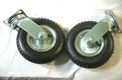 Pair 8 Inch Pneumatic Caster Swivel Casters Wheel Cart 2 Pack New Old Stock