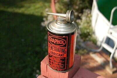 Vintage 1960's Graphol Penetrating Lubricant metal tin Handy Oiler Can