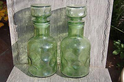 Lote De Dos Botellas de Cristal + Tapa Vintage - Verde Buen...