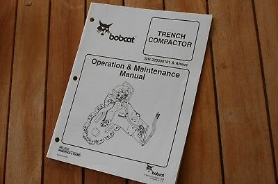 Bobcat Trench Compactor Ditch Owner Operator Operation Maintenance Manual Book