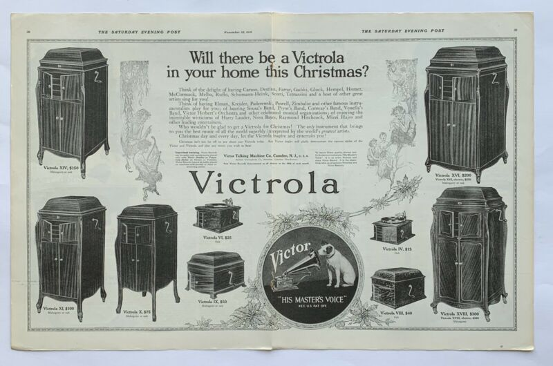 Vintage 1916 Victrola Products Christmas Price Guide 2 Page Attached Print Ad