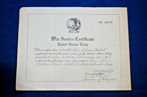 WWI War Service Certificate, U.S.N. For Everett N. Chase at Deer Island, Mass.