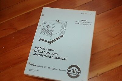 Miller Welder Trailblazer 5-d J Owner Operator Operation Maintenance Manual Book