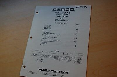 Dresser Td15e Tractor Carco 70a-ps Winch Parts Manual Book Dozer Crawler Spare
