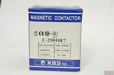 Nhd C-25d10e7 Magnetic Contactor For 10hp Motor 120v Coil Normally Open