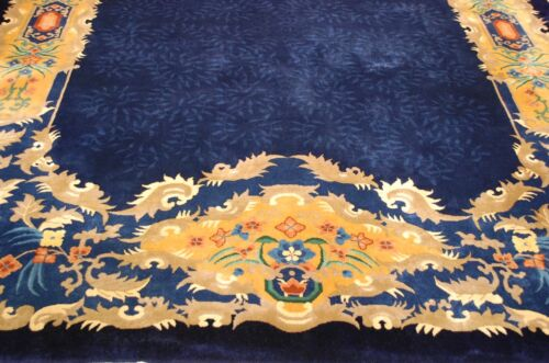 C1920s Antique Mint Art Deco Walter Nichols Chinese Rug 8.9x11.7 Must See Beauty