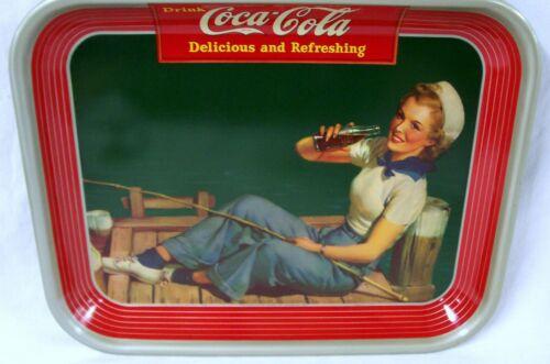 "1940 COCA COLA TRAY  "" FISHING GIRL """
