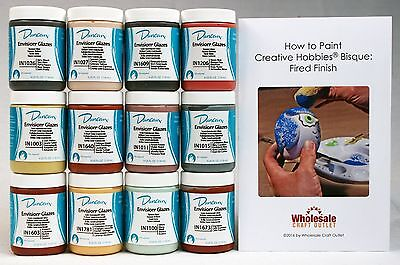Duncan INKIT-1 Envision Glaze Kit for Ceramics - 12 Popular Colors - 4 oz jars