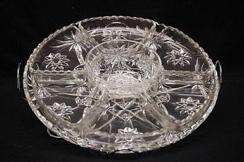 Anchor Hocking 9 Pc. Set Early American Prescut Glass Star of David Lazy Susan