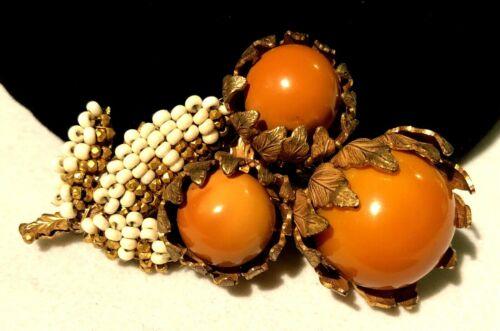 "Rare Vintage 2-3/4"" Signed Miriam Haskell (Horeshoe) Gilt Orange Glass Brooch"