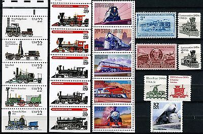 Trains 22 Different MNH US Postage Stamps See Listing for Scott #'s