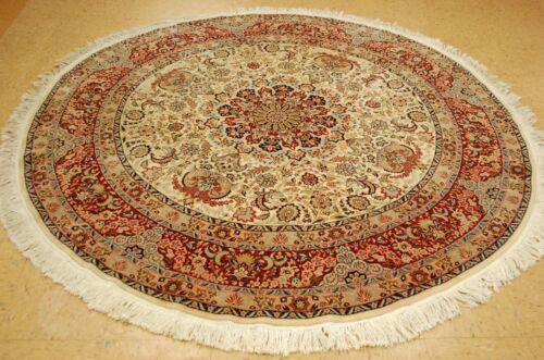 C 1970s Antique Silk Accents Kork Wool Prsian I Sfahan Round Rug 7