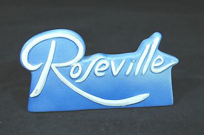 Roseville Porcelain Plaque/Sign-Raised Letter-Blue-Reproduction