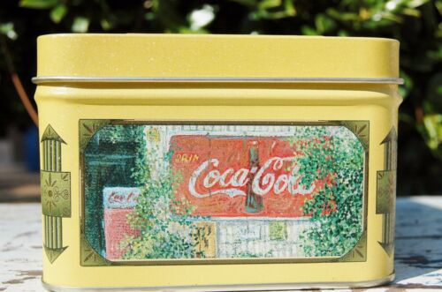 "Coke Tin depicting quaint Shop Scene. 6.25"" long by 4.5"" wide by 3.5"" tall"