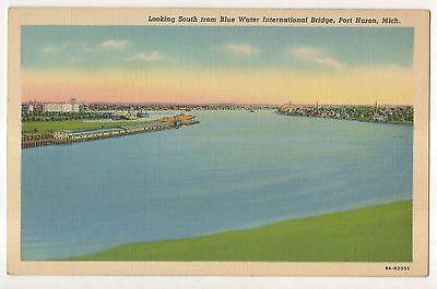 South  Blue Water International Bridge Port Huron Mi Vintage Michigan Postcard