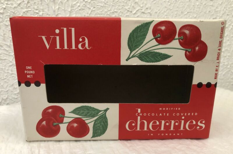 Vintage Candy Box Brach's Villa Cherries Chocolate Covered Cherries Early 1950's