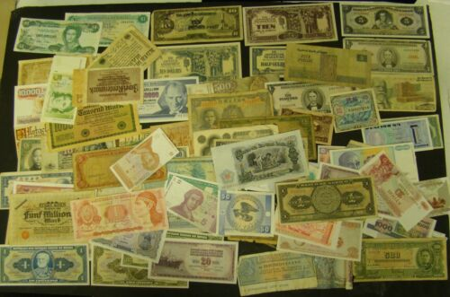 FOREIGN CURRENCY LOT of 91 Mixed World Paper Notes - Many Different Countries