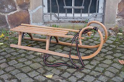 langer HÖRNERSCHLITTEN Rodelschlitten Holzschlitten Schlitten, Holz L= 125 cm