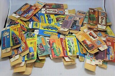 Matchbox Lesney Superfast 25x EMPTY TATTY BOX JOB LOT inc ZODIAC / GOLF + more
