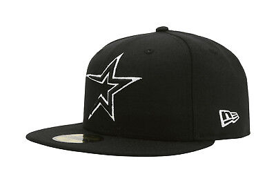New Era 59Fifty Hat MLB Houston Astros Apparel Mens Adult Black White 5950 - Fifties Clothes For Men