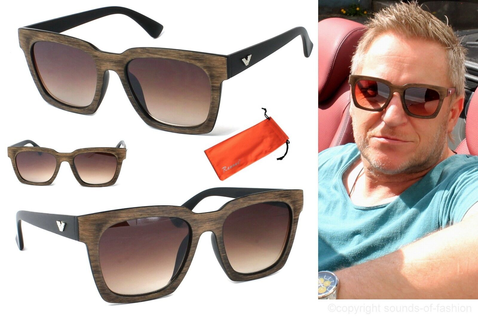 Herren Sonnenbrille XL Quadrat Schwarz Braun Verlauf Edle fühlbare Holz Optik V
