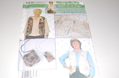Simplicity Pattern # 4930 - Crazy Quilting Baby Quilt, Women's Vests & Bags -NEW - Crazy Baby Costumes